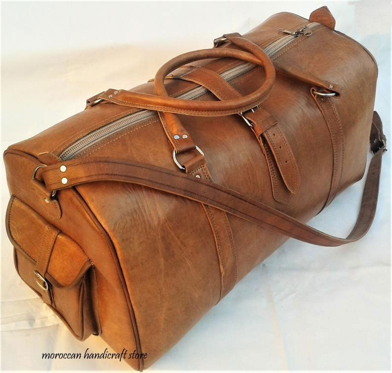 LUXURY Leather Weekender, Leather Travel Bag Gym Bag, Weekend Bag Genuine Leather Luggage