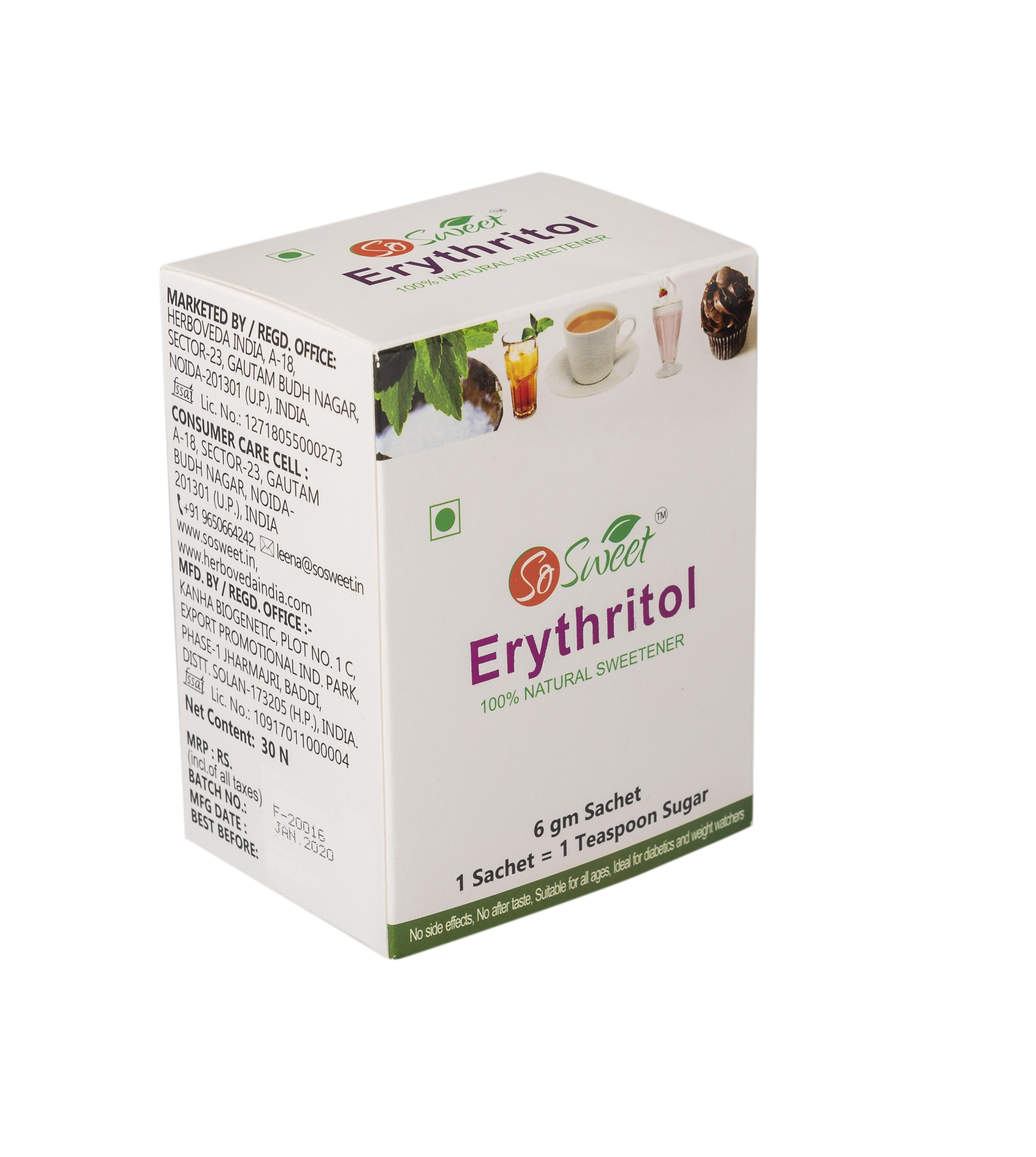 Puro Erythritol Dolcificante 30 bustina bastone pack