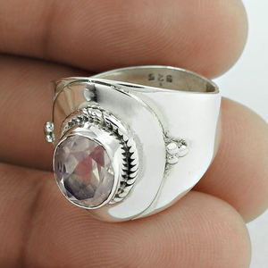 Shimmering rose quartz ring Indian 925 sterling silver jewelry gemstone handmade silver ring s for women