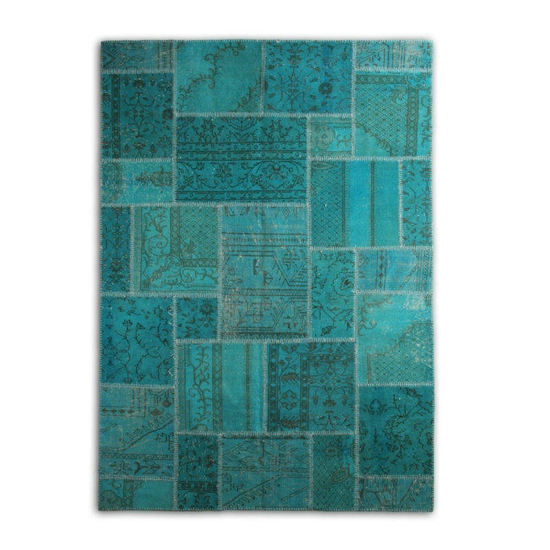 High Quality Turkish Handknotted Carpet Vintage Turquoise Patchwork Rug Istanbul Grand Bazaar Online (94.5x66.9 inch)