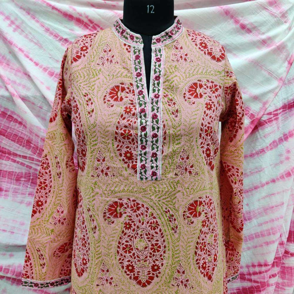 Hand block print women kurti top