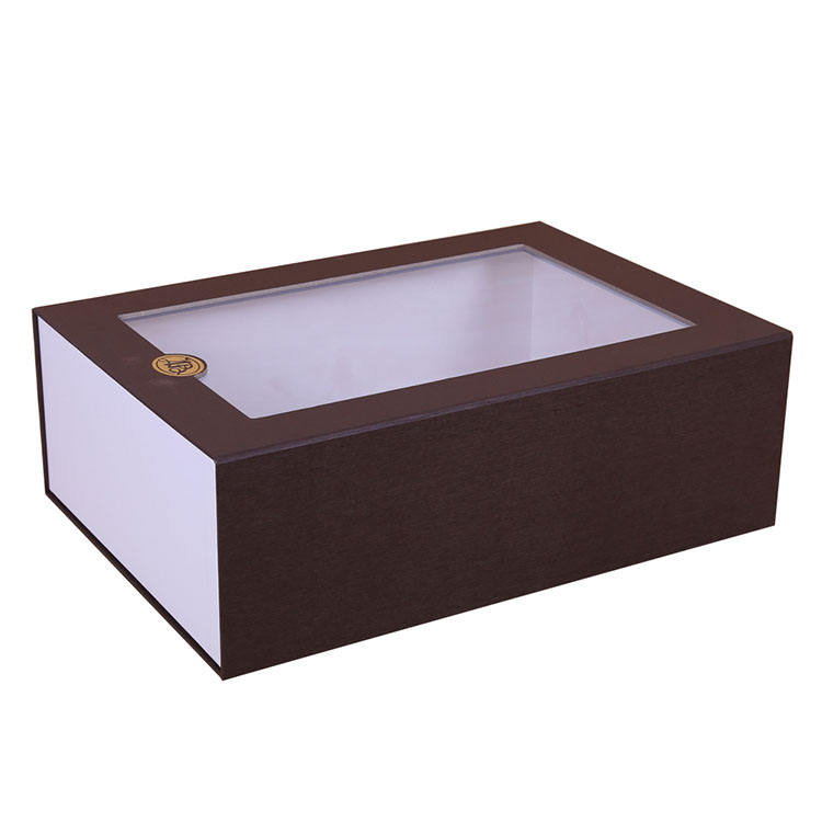 Black Stackable Wine Large Clear Shoes Magnetic Window Paper Box