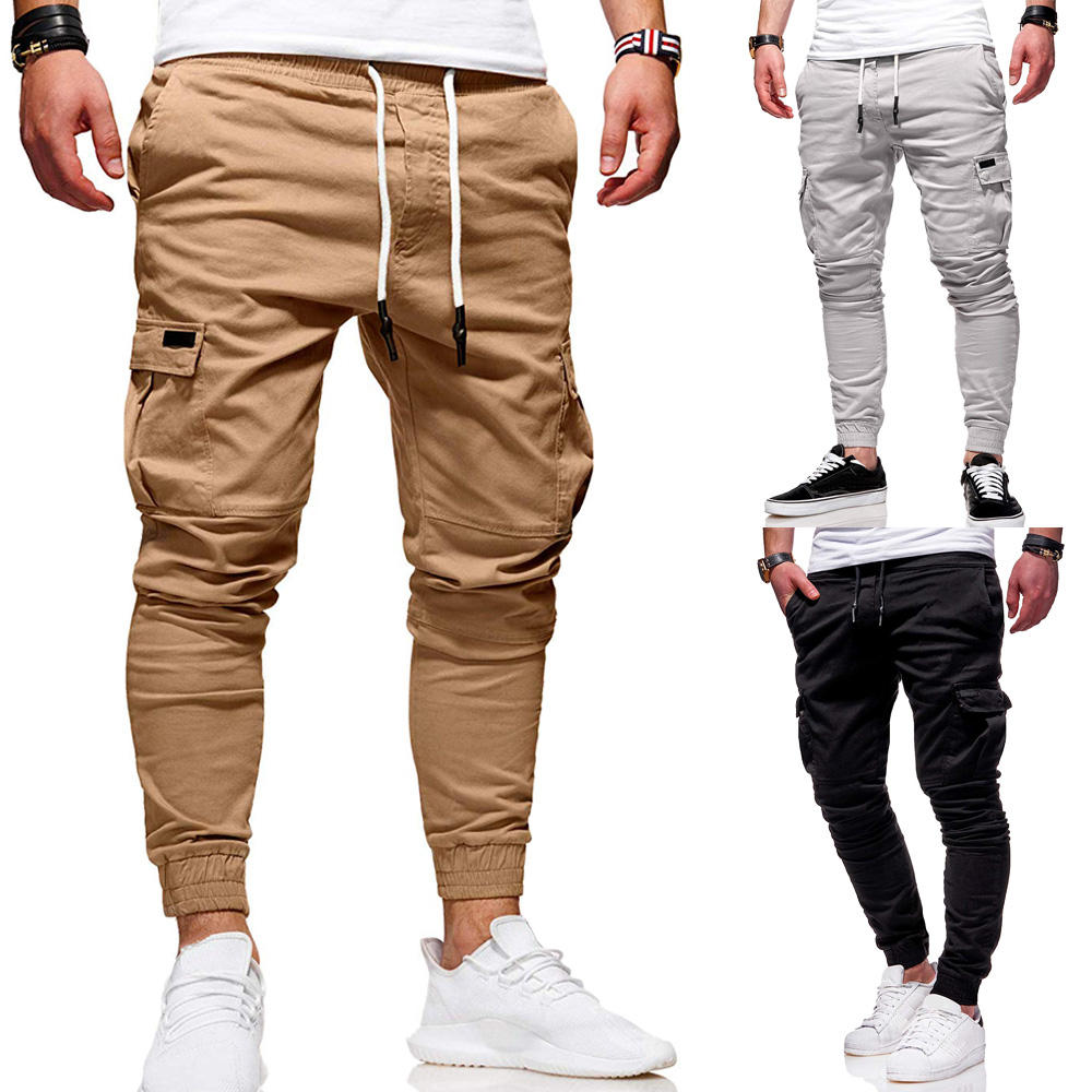 Herren Stretch Khaki Baggy Pants Plain Kordel zug Cargo Pants