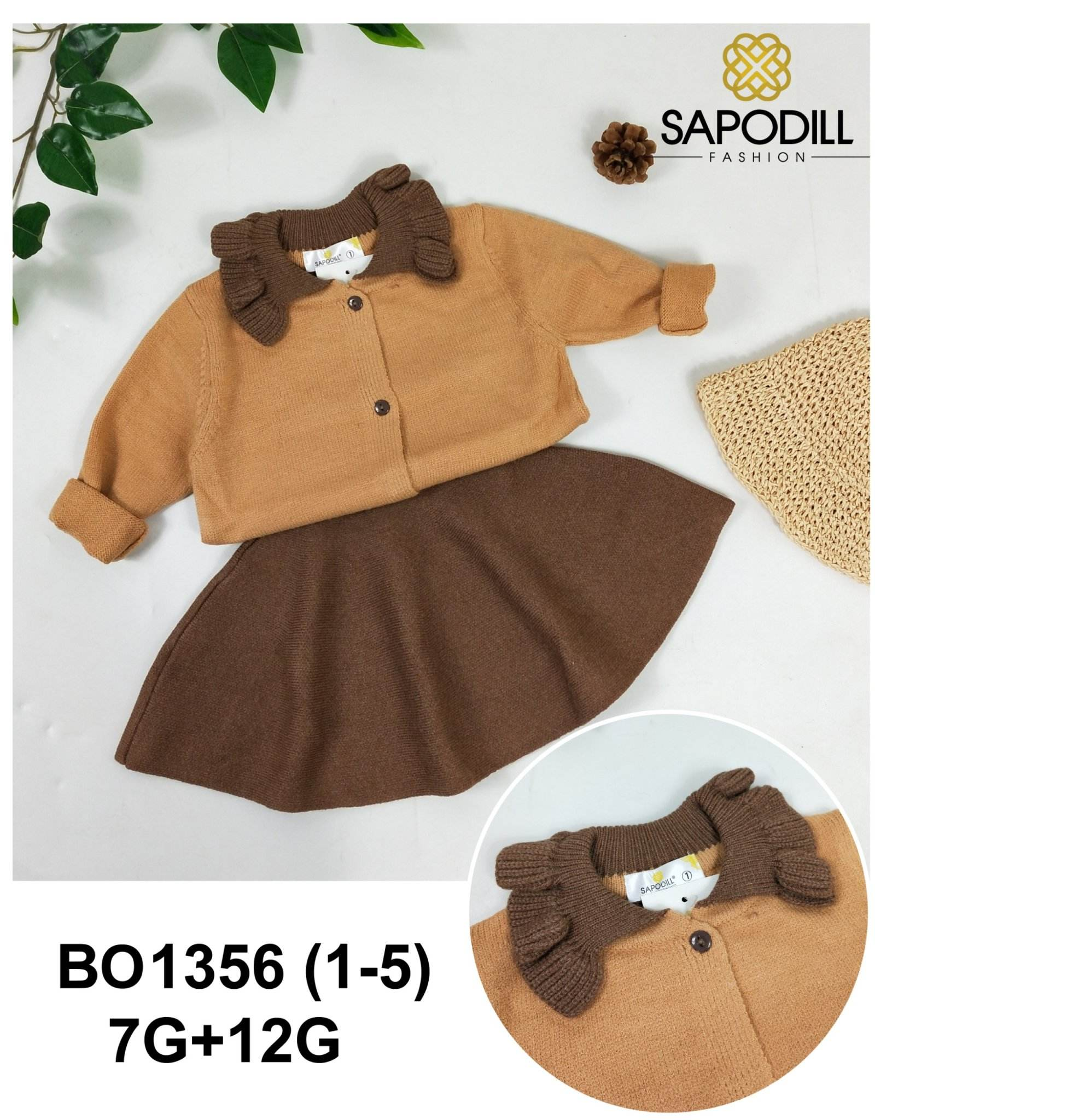 Sapodill new design kids sweater girl with young spread skirt