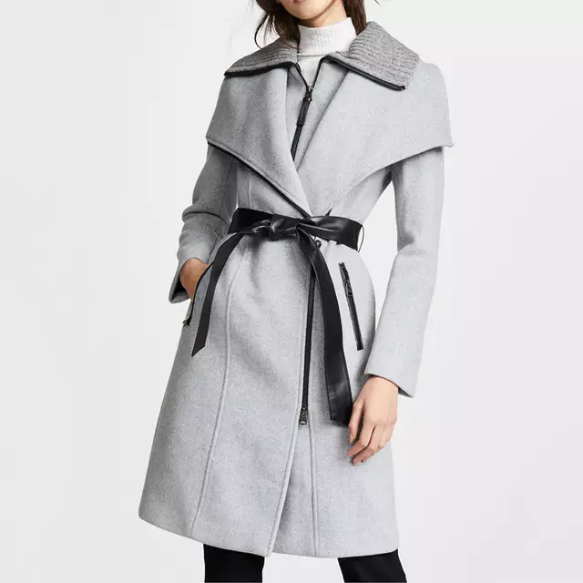 Women's Gray Long Winter Wool Coats Double Breasted Jackets women casual coat