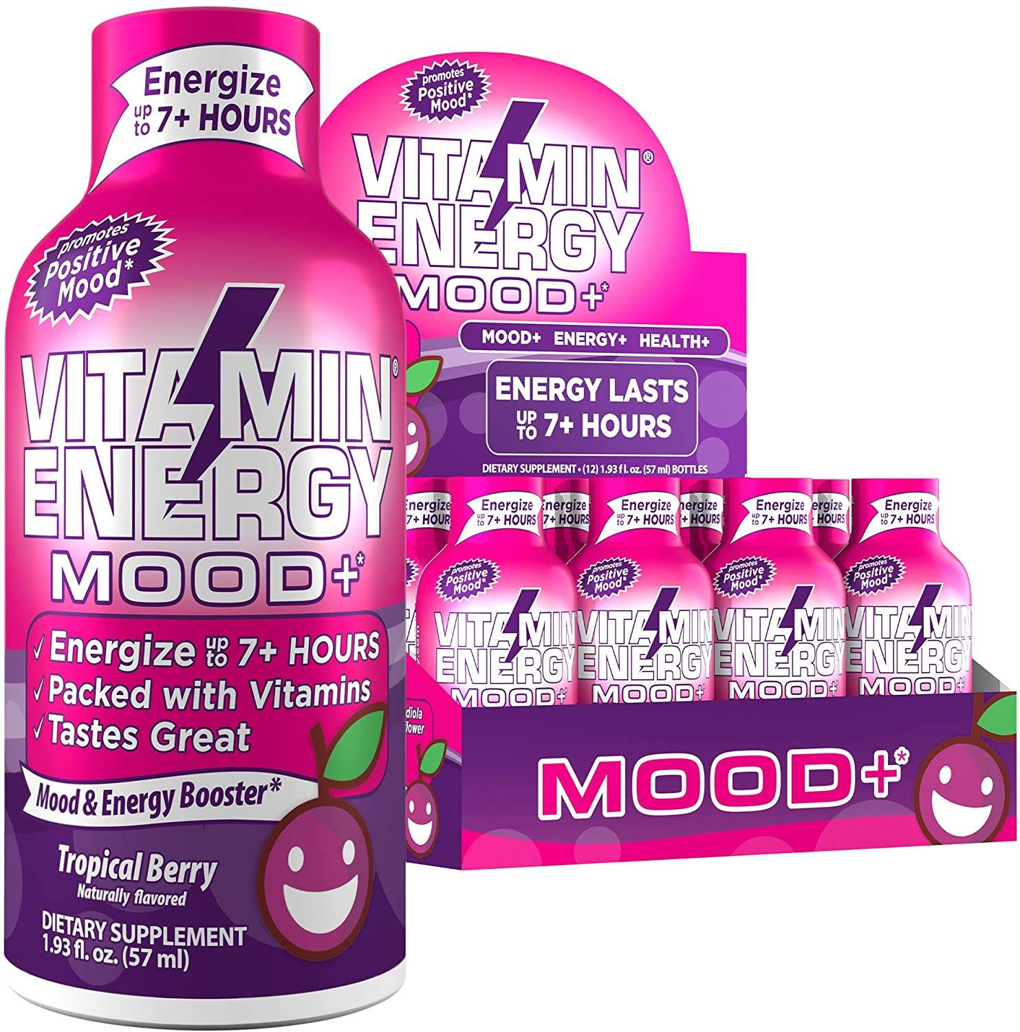 Mood+Boosting Vitamin Lasts up to 7+ Hours Grape Flavoured Energy Drink with Vitamin Supplements, Anxiety Relief, Mood-Boosting