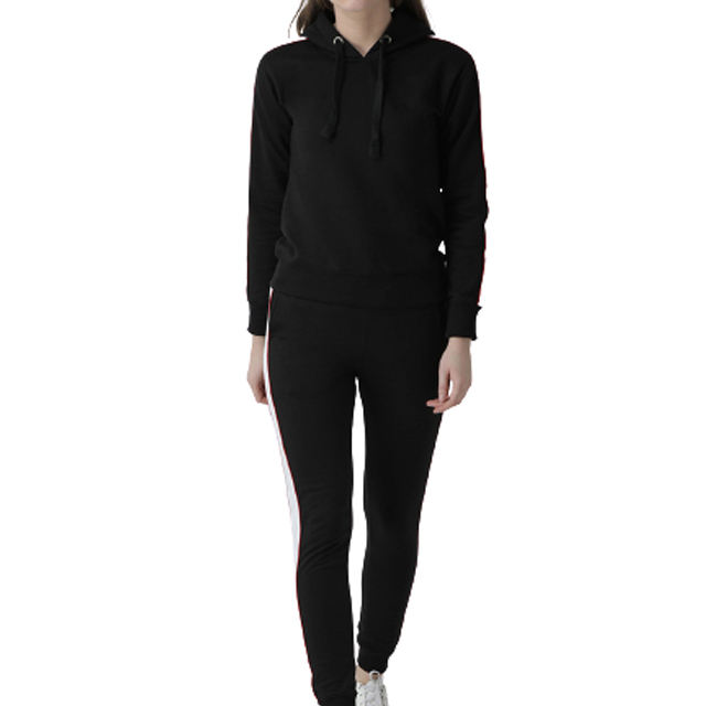 Side Stripe Slim Fit Black Ladies sweat suit