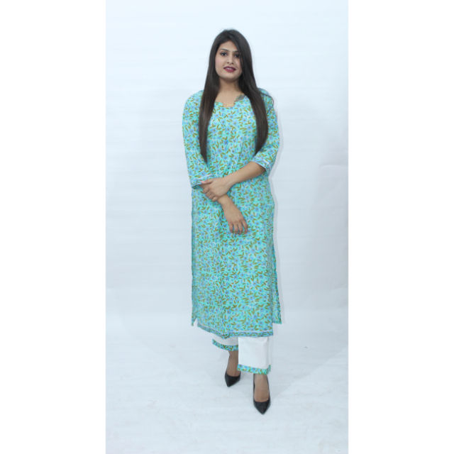 Women Printed Cotton Blend Straight Kurti With Pant Women Dress Set Handmade Summer Wear Indian Ethnic Top Tunic Bottom Pant