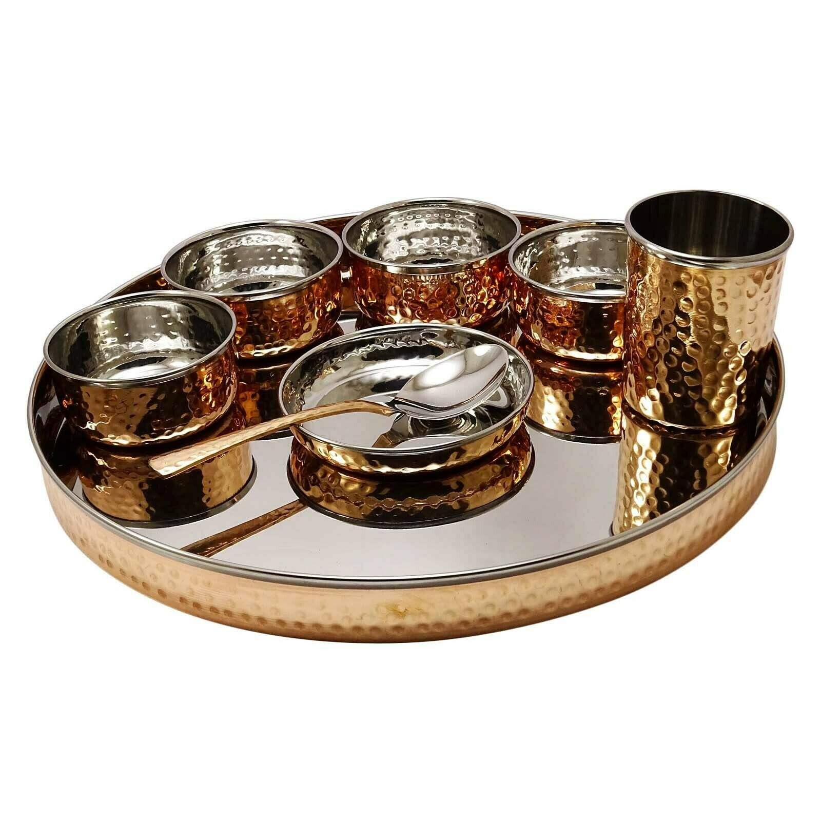 Stainless steel Copper Thali Set and copper moon thali