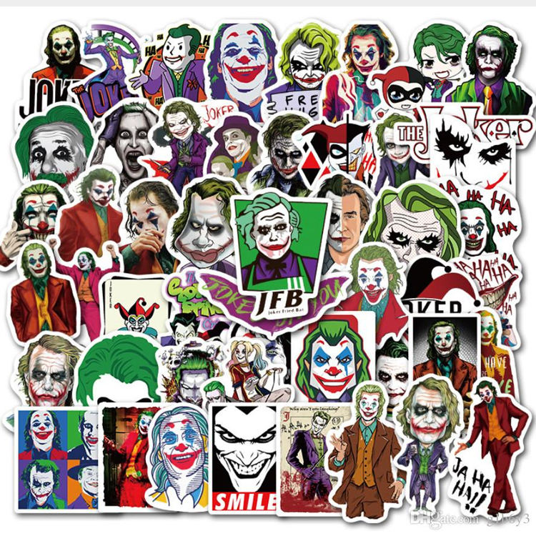 The Joker Anime Stickers Autocollant Etiquettes Hologram Halloween Sticker Cute Cartoon Clown Style For Case Laptop Motorcycle