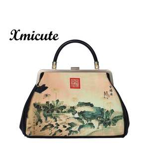 wholesale handmade elegant women Genuine Leather picture printing luxury party purse vendor