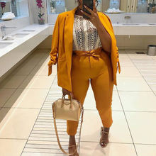 Bright Yellow Drawstring Sleeves Two  Piece Set Blazer Suits Set for Women