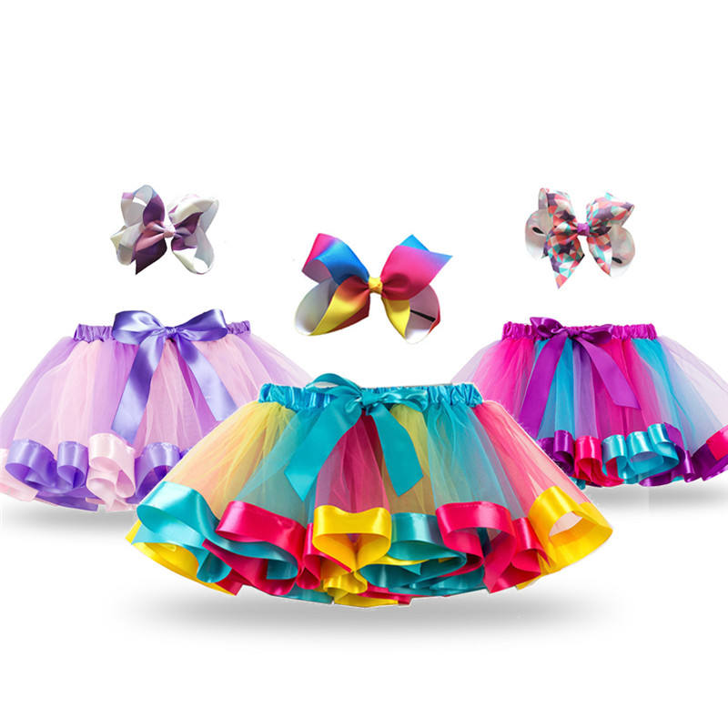 Princess Tutu Skirt Baby Girls Clothes Fancy Unicorn Rainbow Kids Party Tutu for Girls Skirts Children Ball Gown Multi-Layers