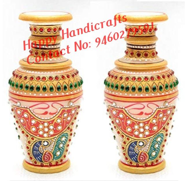 India Marble Flower vase (Flower Pot) with beautiful gold and kundan work embellished on it Set of 2
