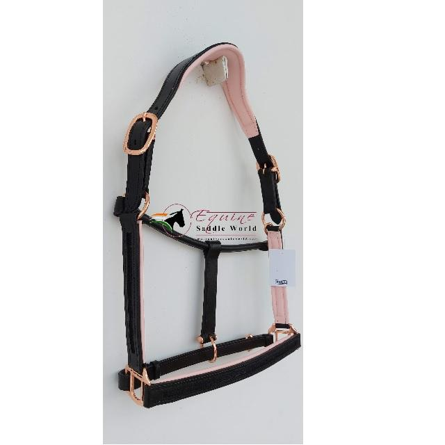 EMPTY CHANNEL HIGH QUALITY LUXURY HORSE TACK HEAD COLLAR HALTER WITH WHITE PINK PADDING AND SUPERIOR QUALITY HARDWARE