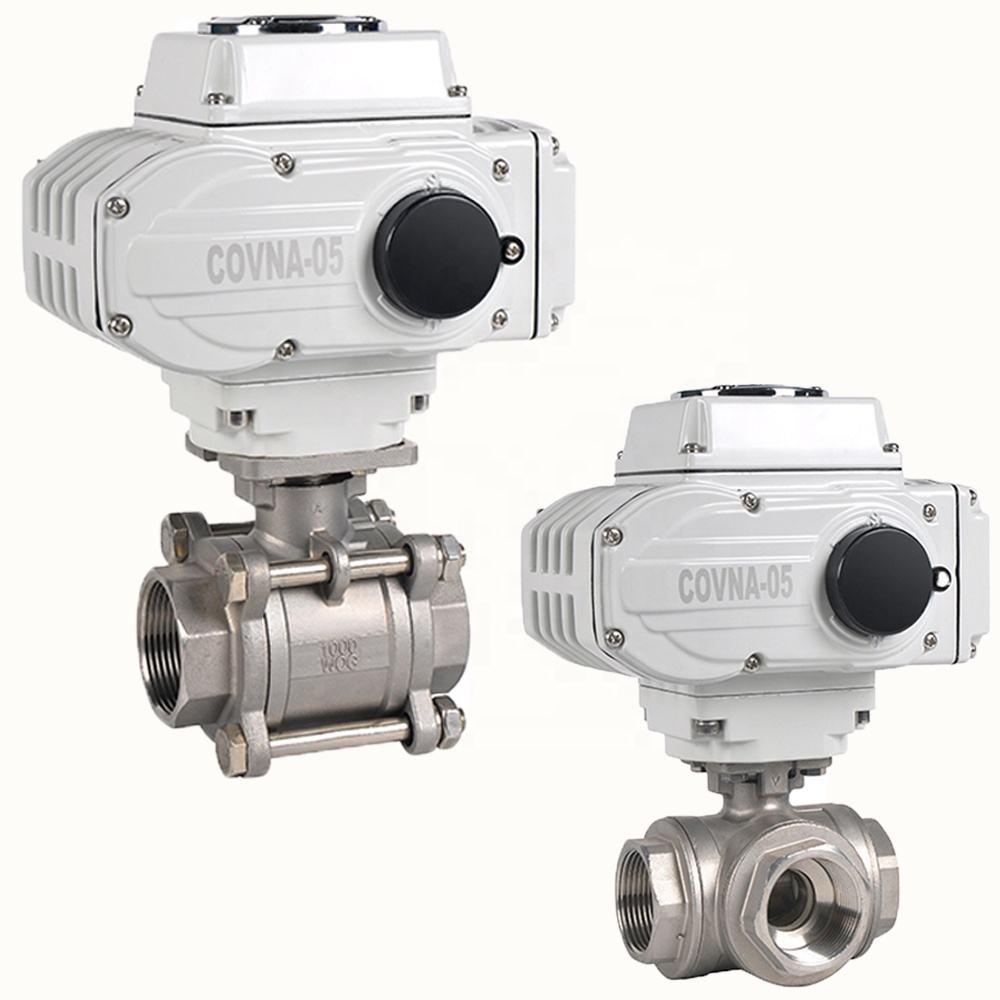 12V 24V 2.5 inch 2 Way 3 Way BSP Thread Electric Motorized Water Flow Control Ball Valve with Electric Actuator