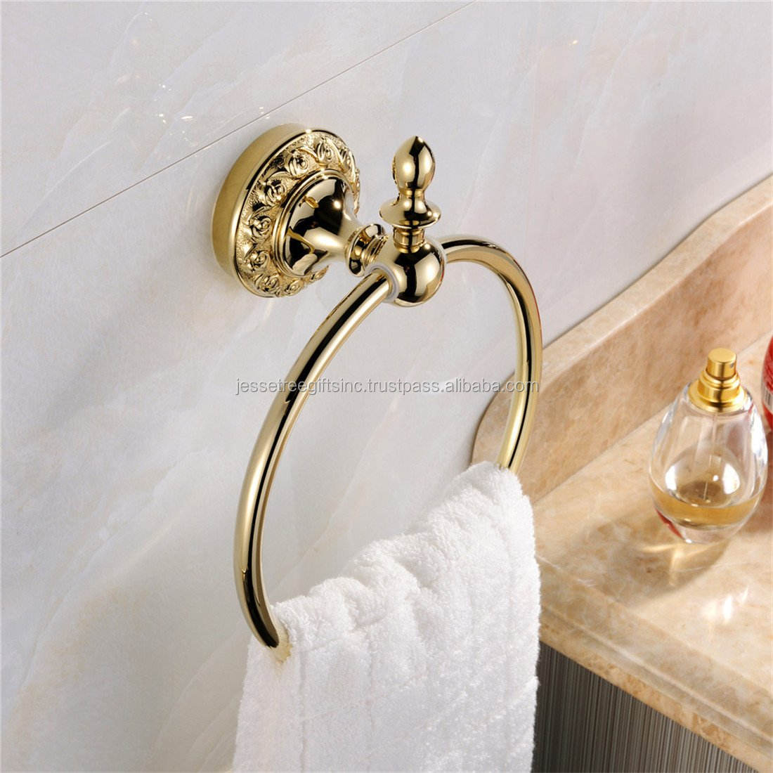 Home Towel Ring European Style Durable Gold Finishing - Brass Bath Towel Holder Bathroom Accessories Anti Rust Wall Mount