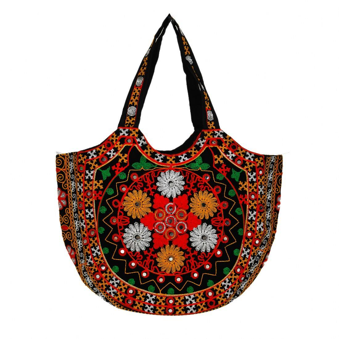 Vintage Bohemian Maroon Work Maroon Color Traditional Indian Handmade Handbag (RBG-116-BLACK)