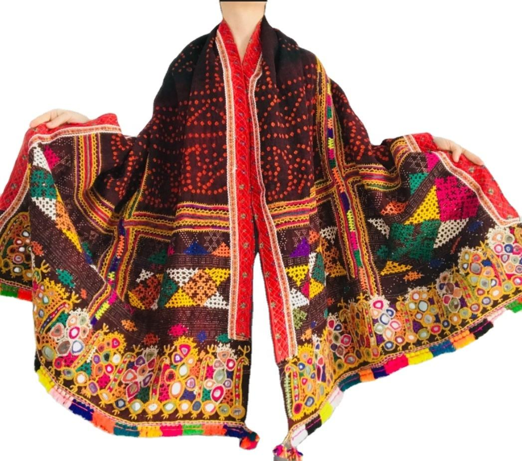 100 Cotton Kasmiri Shawl Scarf Boho Gypsy Style Embroidered Beaded Shawl Indian Handmade Banjara New Style Shawl