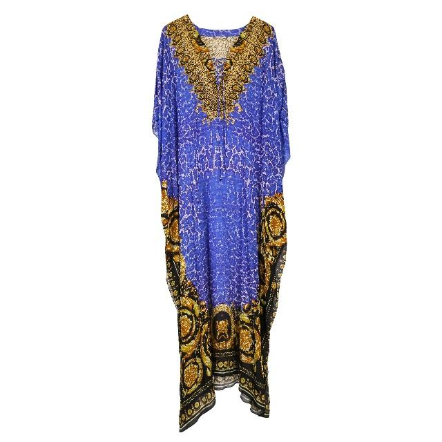 Women's MultiColour Silk 3D Digital Printed Smart Kaftan Latest Digital Printed kaftans Dress