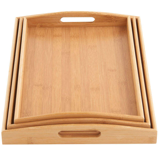 2020 Best seller nickel plated serving trays bamboo organic set products kitchen cabinet trade
