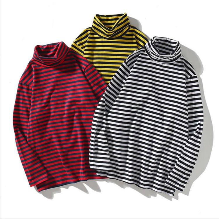 Casual Retro Simple Long Sleeve Shirt Black and White Stripe 100% cotton T Shirt