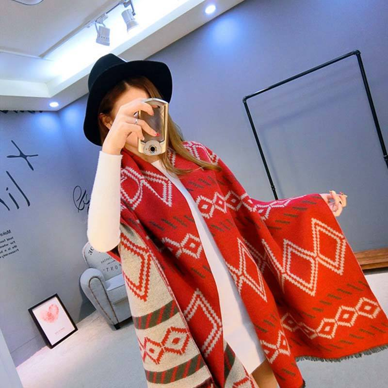 Diamond Pattern Knitted Long Scarf Women Winter Luxury And Best High Quality Ladies Scarf Blanket In Vietnam