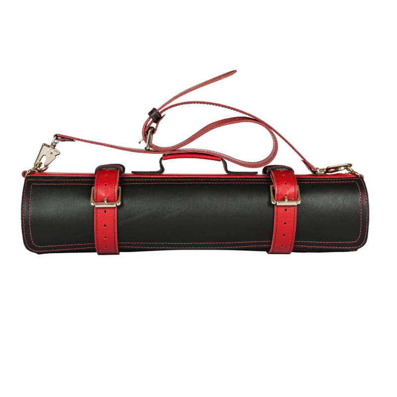 New Design Leather Black & Red Knife Roll- up bag for working
