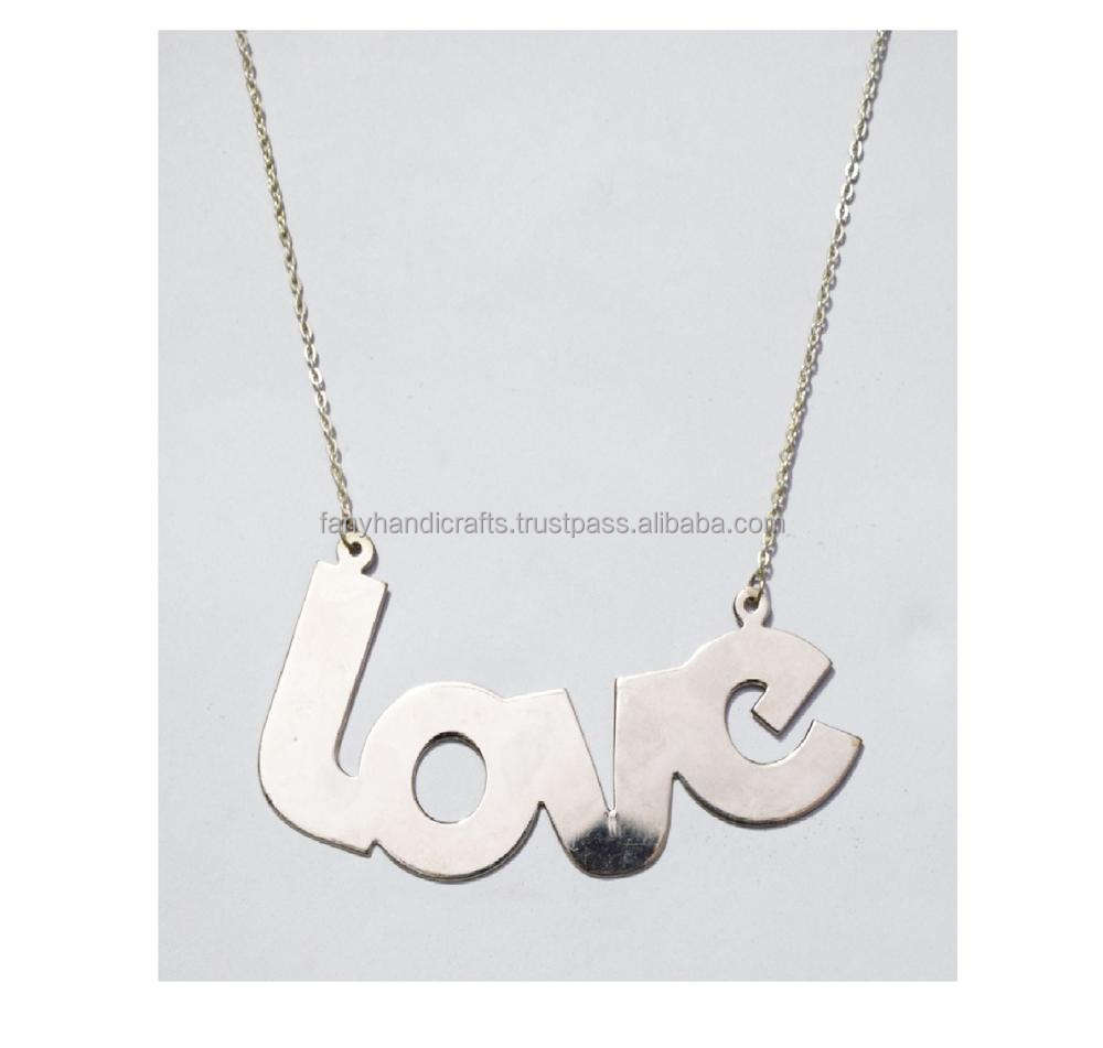 Wholesale New Custom Design Letter Charms Silver Love Alphabet Pendant