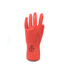Bright red latex gloves chlorinated inner lining for easy wearing best for kitchen dishwashing good grip with flock