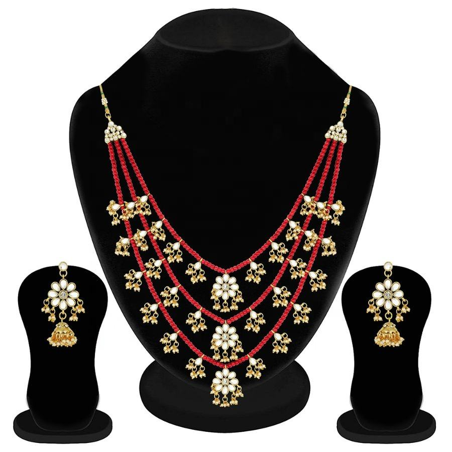 Aheli ethnic layered faux pearl kundan necklace earring set