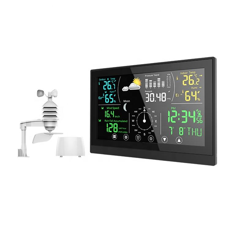 Wireless Indoor and Outdoor Forecast Weather Station with Atomic Alarm Clock for Temperature Humidity Wind Speed Monitoring