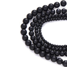 Bracelets Accessories Wholesale Spacer Beads 4mm 6mm 8mm 10mm Round Stone Bead for Jewelry Making Black Frosted Beads