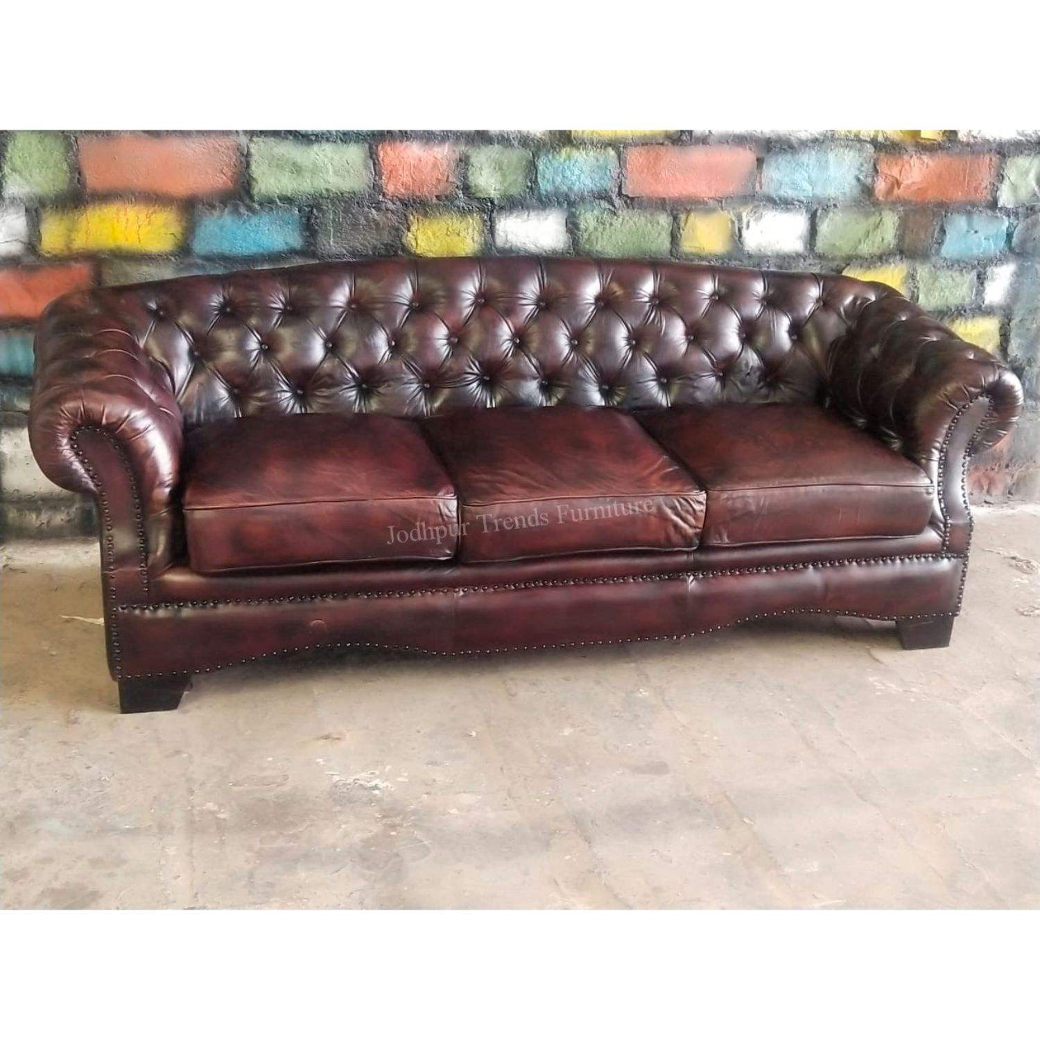2020 Vintage industrial European styled chesterfield three seater leather sofa for home and hotel use