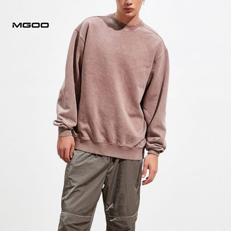 MGOO Hip Hop Style Unisex Plain blank Loose French Terry Wash Crew Neck Sweatshirts