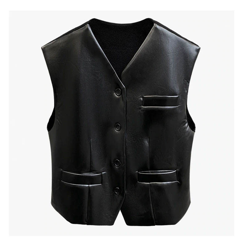 2021 V-Neck Short Length Streetwear Cool Style Solid Color Different Fabric Buttons Stitching Leather Vest