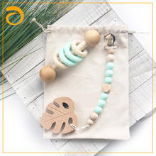 Colorful Factory Handmade Customized BPA Free Baby Wooden Silicone Baby Rattles Teether Toys