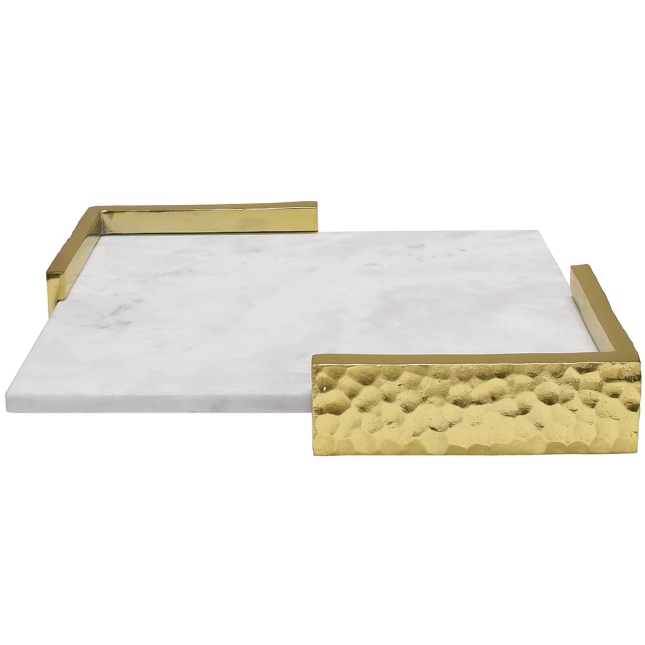 Decorative White Marble Tray with Hammered Corners