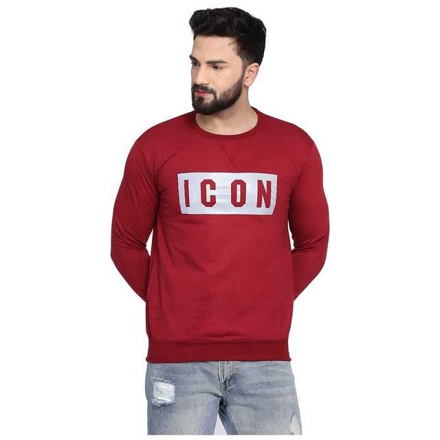 Customized Men Clothing Crewneck No Hood Sweatshirt With Front Printing