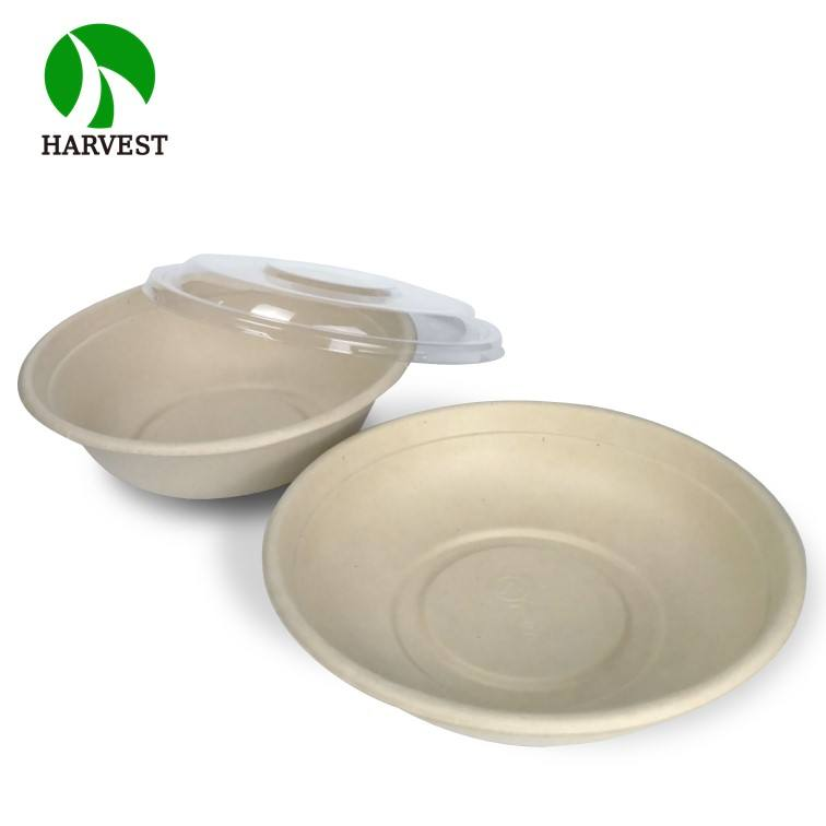 CR24 Round 24 oz Disposable Bamboo Salad Food Packaging Take Out Bowl