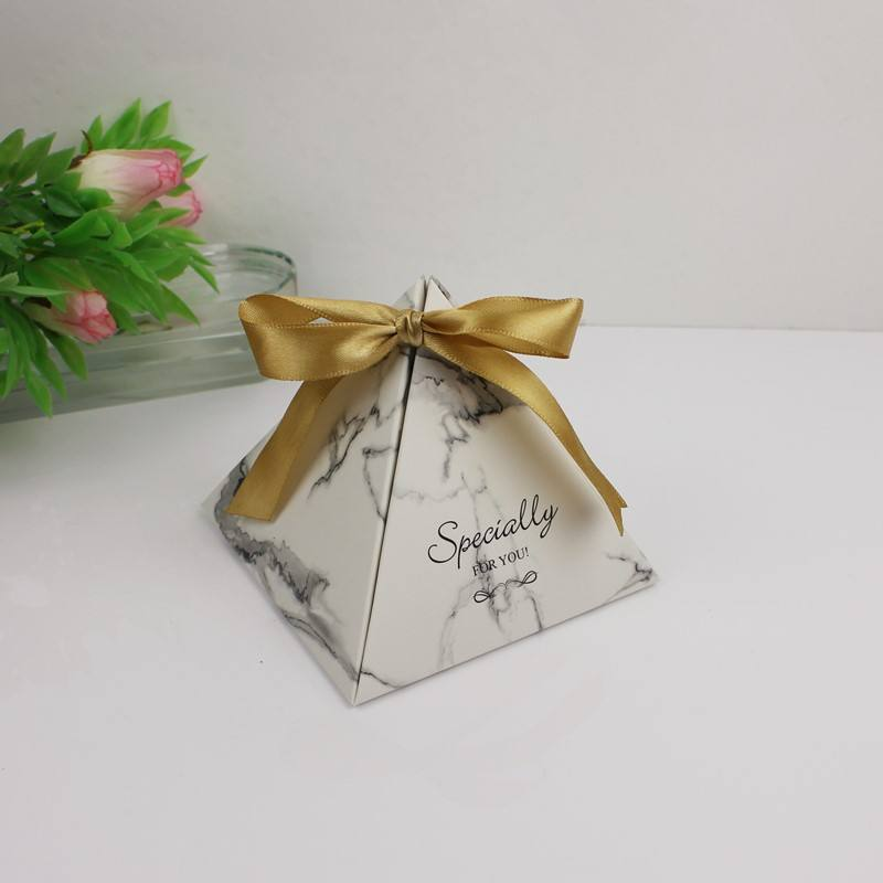 Marble Wedding Favor Creative Pyramid Shape Wedding Candy Favor Box Candy Boxes for Baby Shower