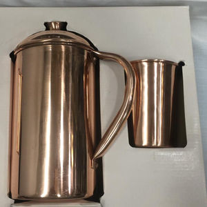 Copper Designer Water Pitcher Jug with tumbler glass cup set