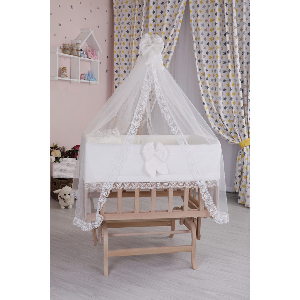 With All Parts and Accessories Baby Cradle Beecwood Baby Crib up to 24 Months old Sleep Set Inside Crib