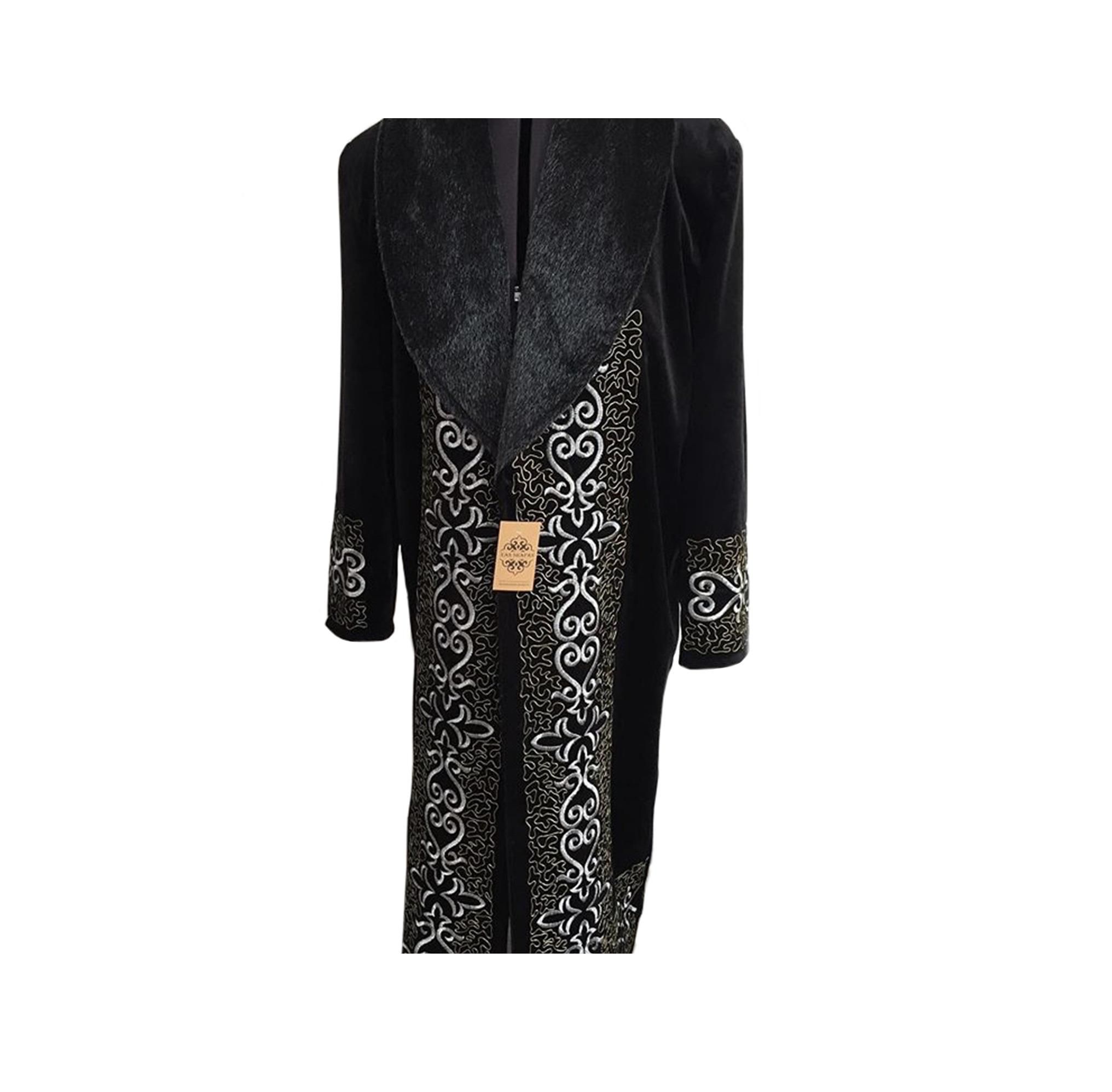 Thick Outdoor Coat Robe Embroidered Men Kazakh Chapan With Artificial Faux Fur Collar