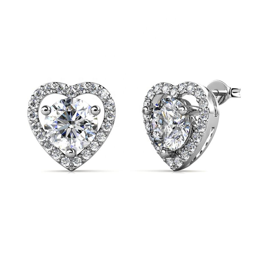 Destiny Jewellery 2021 New Luxury Jewelry 925 Sterling Silver 0.5 Carat GRA Moissanite Diamond Halo Heart Stud Earrings