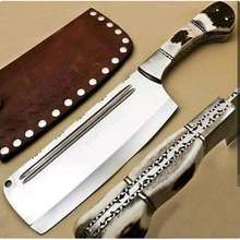 CCK Best Sharp Blade Stainless Steel Stag Horn Handle Kitchen Shiny Cleaver (HMZ - 818)