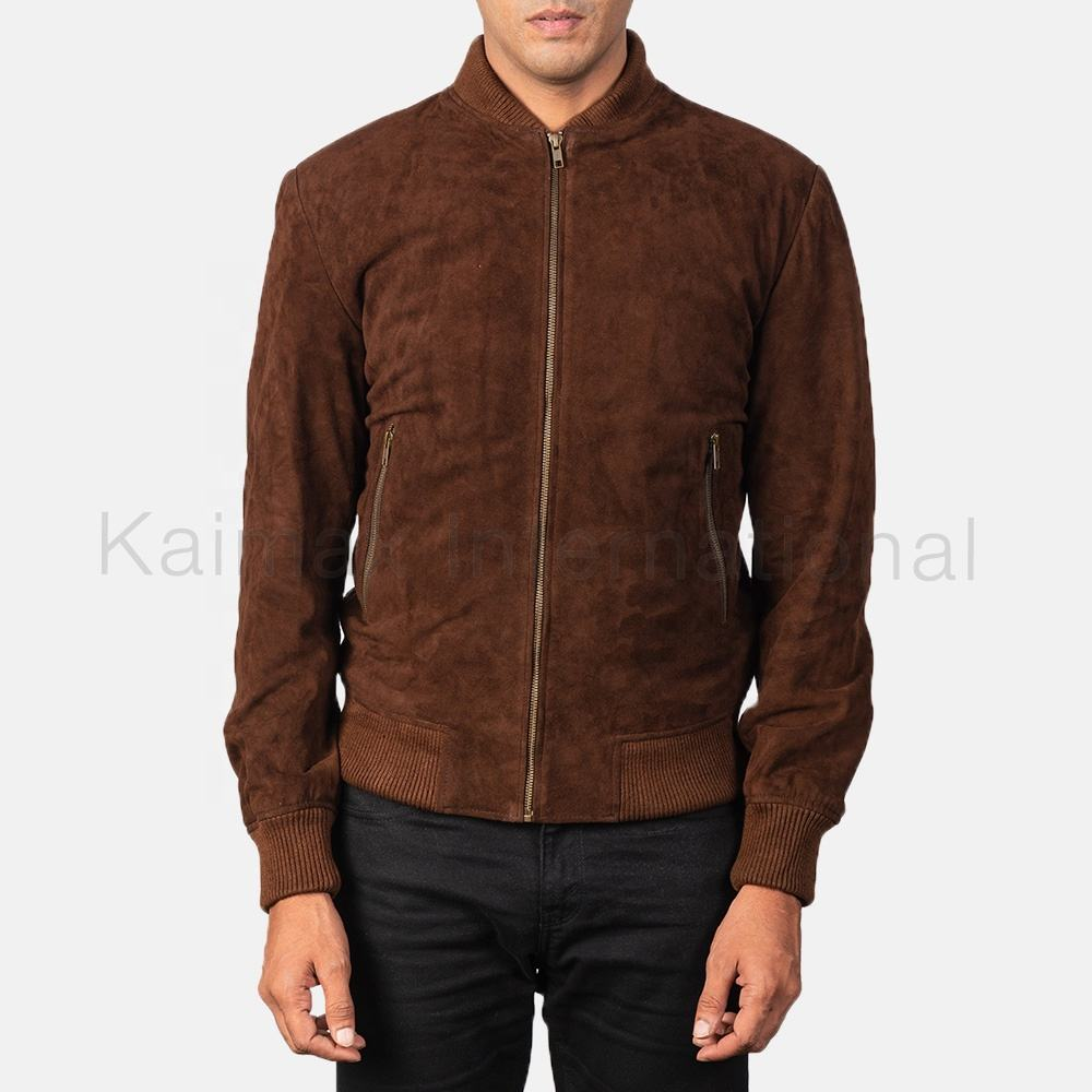 Bomber Style leather Jacket Suede Men