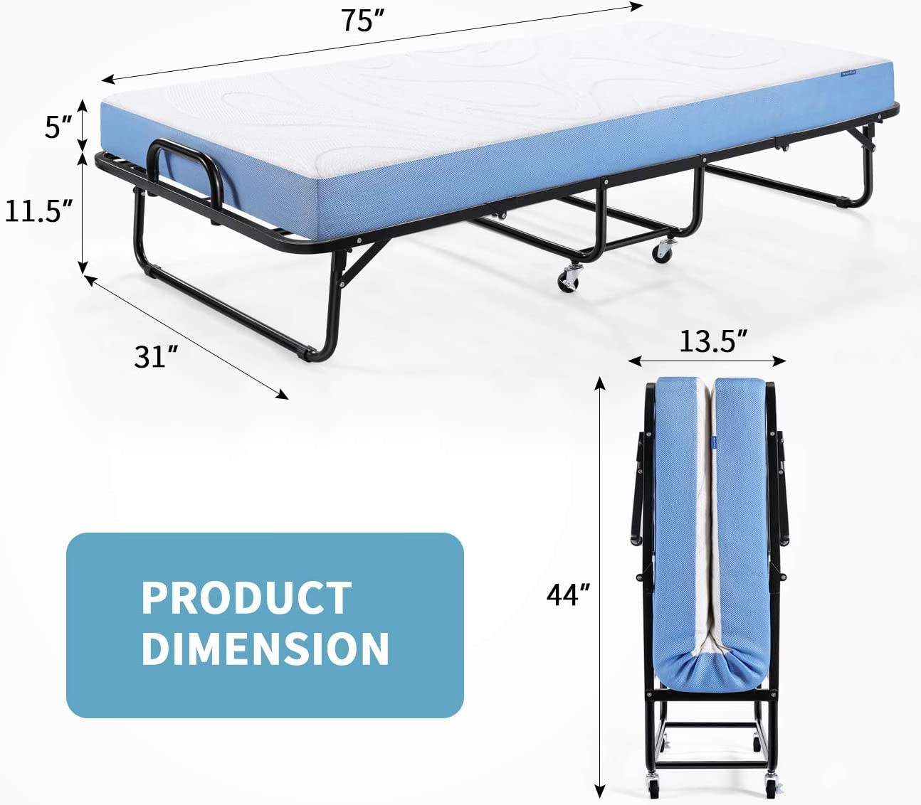 US Free Shipping Cot With 5 Inch Foam Mattress Folding Bed