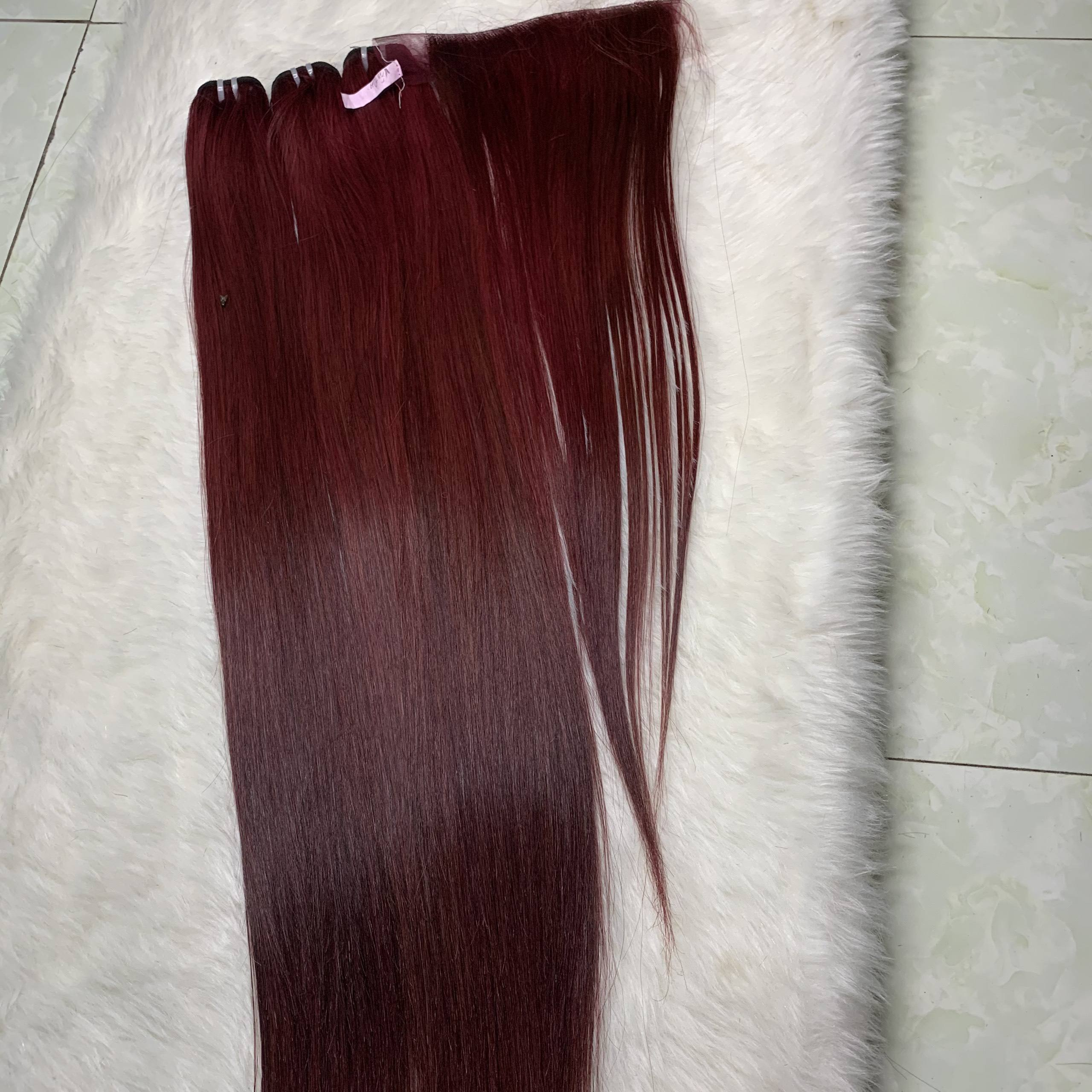 Colored hair extension weaving body wave red brazilian hair bulk