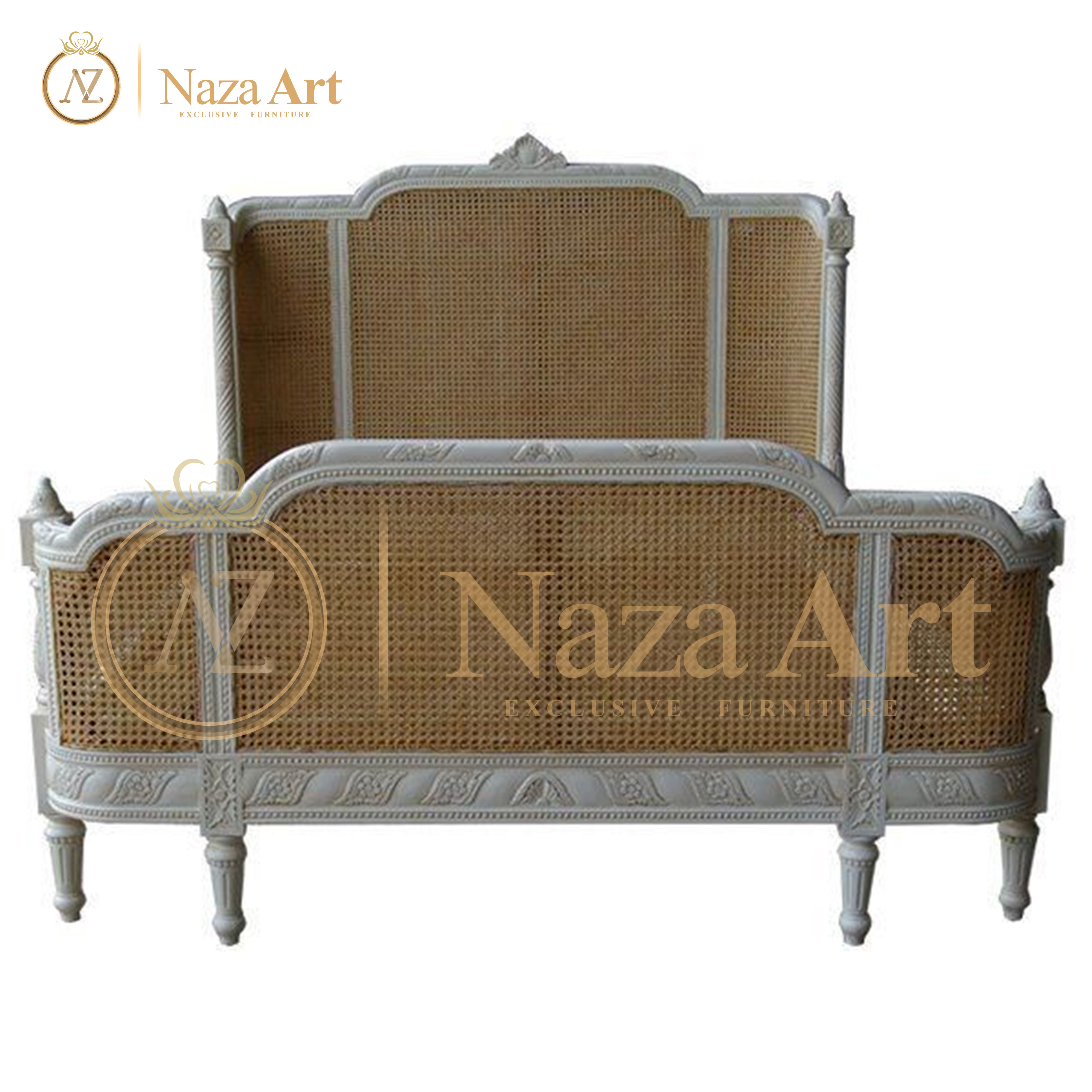 Rattan Bed Simple Desaign Beautifully Hand Carved For Bedroom Furniture
